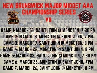 🏒New Brunswick Major Midget AAA Championship Series Schedule!🥅