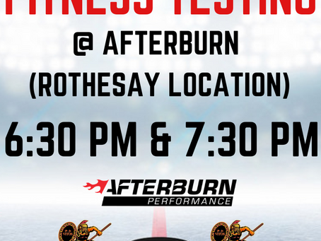 Fitness Testing is tonight, August 21!