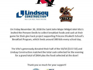 KV PeeWee Devils Give Back With The Vito's and Lindsay Construction