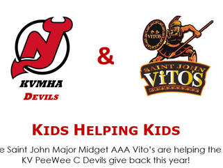 The Saint John Major Midget AAA Vito's are helping the KV PeeWee C Devils give back this year!