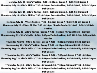 Vito's Summer Development Program Schedule & Rosters!