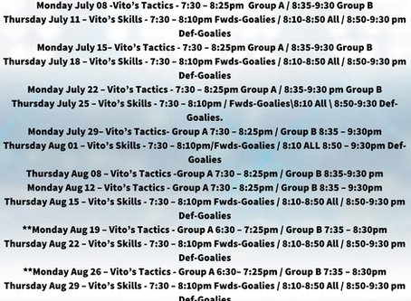 Vito's Summer Development Program Schedule & Rosters!