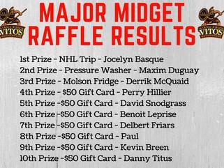 Major Midget Raffle Winners