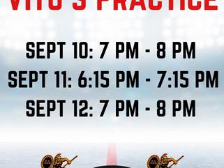 Vito's Practice Times