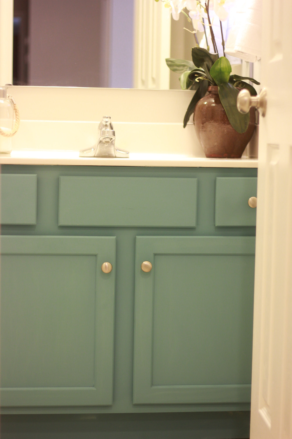 My Bathroom vanity painted in Waverly Agave