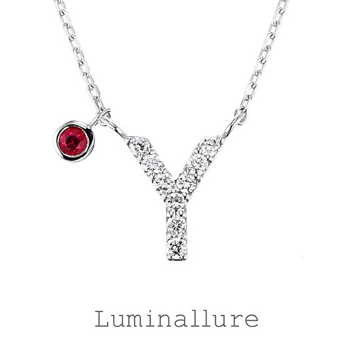 Initial Diamond Pendant 【Y】with Charm / K18WG / Total 0.06ct