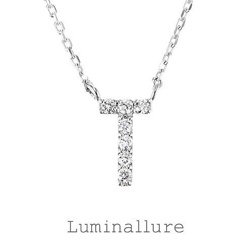 Initial Diamond Pendant 【T】 / K18WG / Total 0.05ct