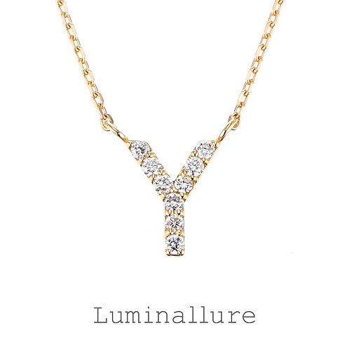 Initial Diamond Pendant 【Y】 / K18YG / Total 0.06ct