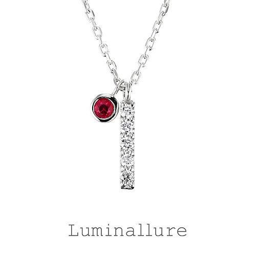 Initial Diamond Pendant 【I】with Charm / K18WG / Total 0.03ct
