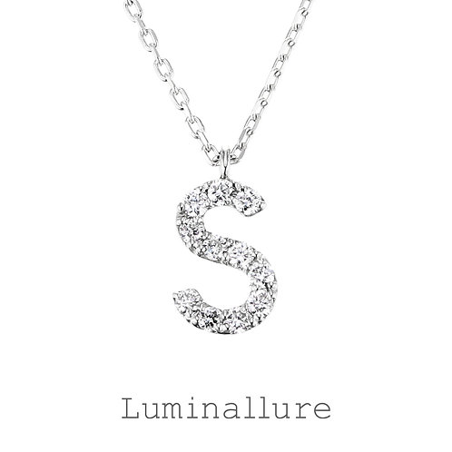Initial Diamond Pendant 【S】 / K18WG / Total 0.07ct