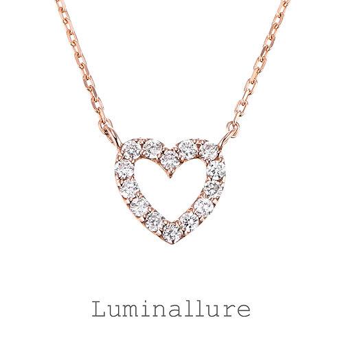 Sweet Heart Diamond Pendant / K18PG / Total 0.09ct