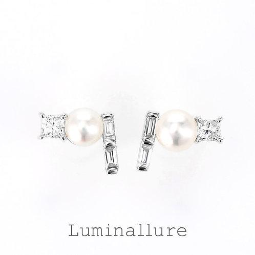 Twinkling Stars Pearl Diamond Pierce / K18WG / 0.13 + 0.13ct