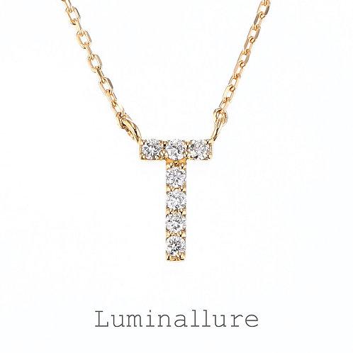 Initial Diamond Pendant 【T】 / K18YG / Total 0.05ct