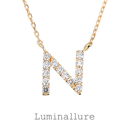 Initial Diamond Pendant 【N】 / K18YG / Total 0.09ct