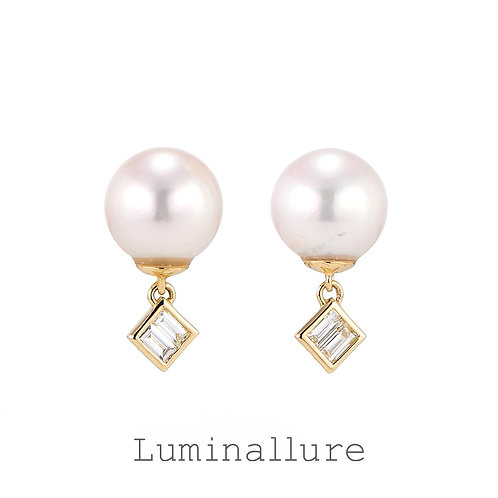 Swing Pearl Diamond Pierce / K18YG / 0.04 + 0.04ct