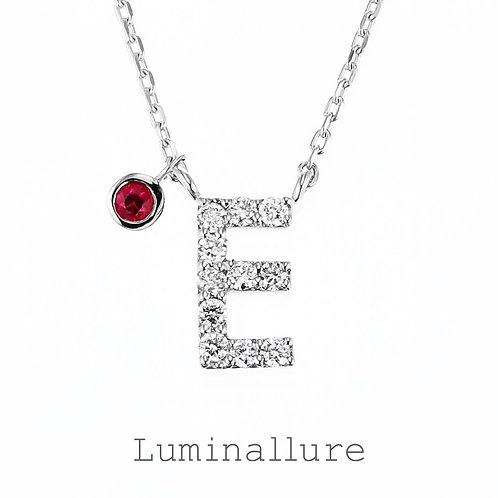 Initial Diamond Pendant 【E】with Charm / K18WG / Total 0.07ct
