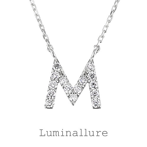 Initial Diamond Pendant 【M】 / K18WG / Total 0.09ct