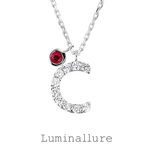 Initial Diamond Pendant 【C】with Charm / K18WG / Total 0.07ct