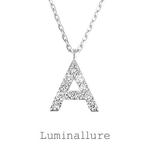 Initial Diamond Pendant 【A】 / K18WG / Total 0.07ct