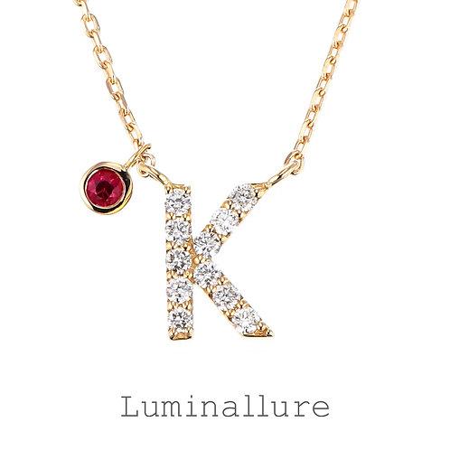 Initial Diamond Pendant 【K】with Charm / K18YG / Total 0.07ct