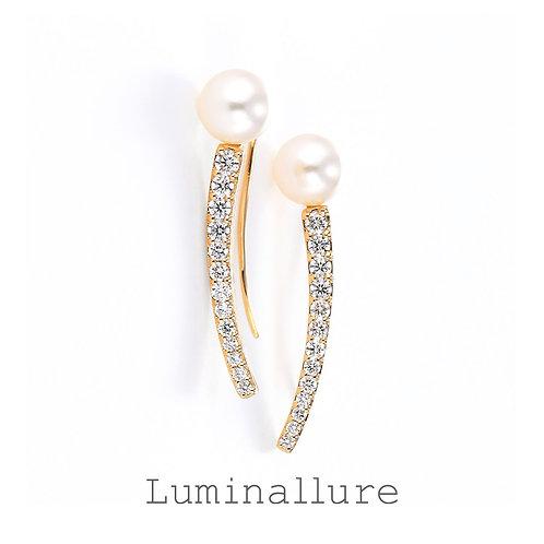 Innocent Pearl Diamond Pierce / K18YG / 0.22 + 0.22ct
