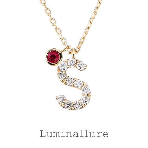 Initial Diamond Pendant 【S】with Charm / K18YG / Total 0.07ct