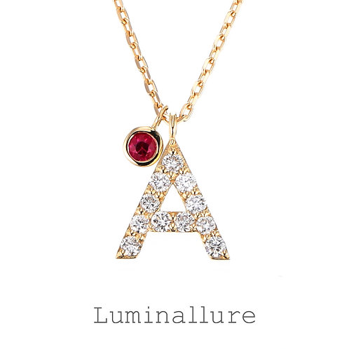 Initial Diamond Pendant 【A】with Charm / K18YG / Total 0.07ct