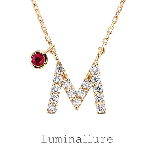 Initial Diamond Pendant 【M】with Charm / K18YG / Total 0.09ct
