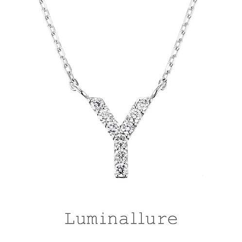 Initial Diamond Pendant 【Y】 / K18WG / Total 0.06ct