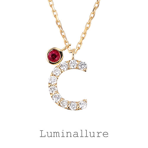 Initial Diamond Pendant 【C】with Charm / K18YG / Total 0.07ct