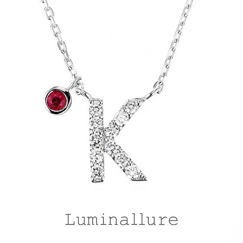 Initial Diamond Pendant 【K】with Charm / K18WG / Total 0.07ct