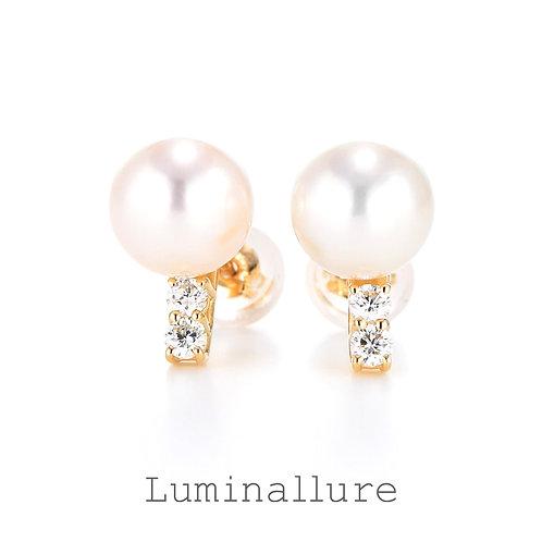 Classy Pearl Diamond Pierce / K18YG / 0.07 + 0.07ct