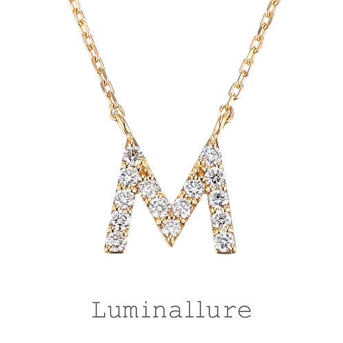 Initial Diamond Pendant 【M】 / K18YG / Total 0.09ct