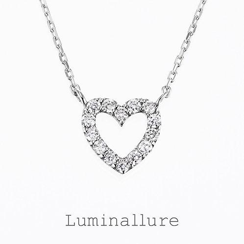 Sweet Heart Diamond Pendant / K18WG / Total 0.09ct