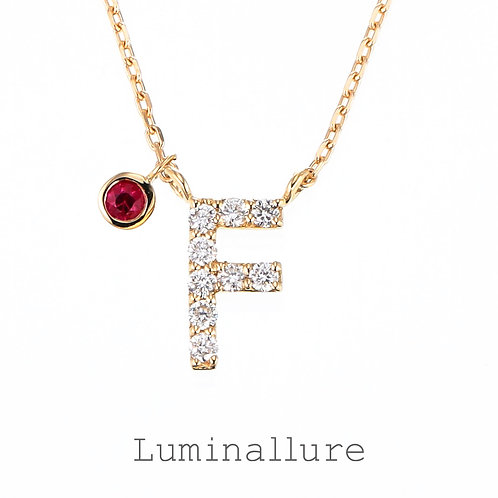 Initial Diamond Pendant 【F】with Charm / K18YG / Total 0.06ct