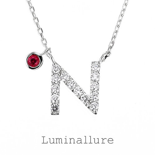 Initial Diamond Pendant 【N】with Charm / K18WG / Total 0.09ct