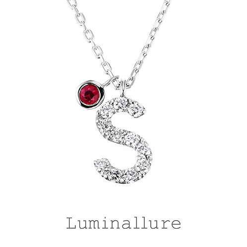 Initial Diamond Pendant 【S】with Charm / K18WG / Total 0.07ct