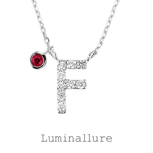 Initial Diamond Pendant 【F】with Charm / K18WG / Total 0.06ct