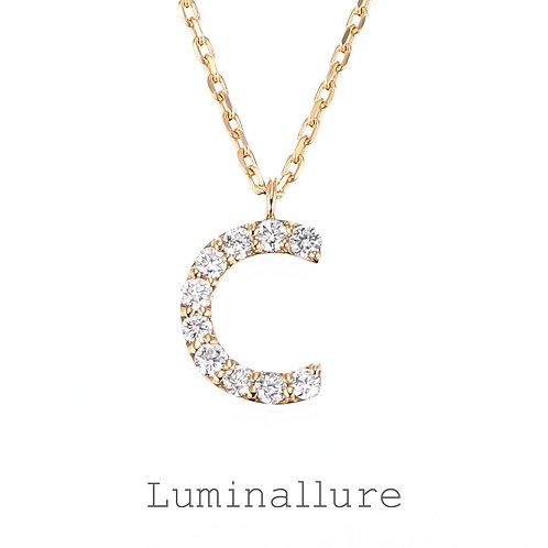 Initial Diamond Pendant 【C】 / K18YG / Total 0.07ct