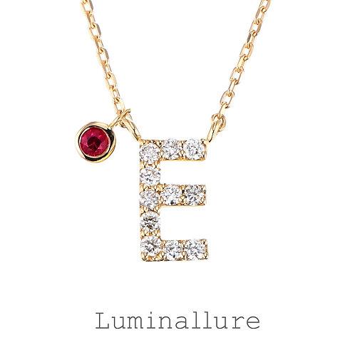 Initial Diamond Pendant 【E】with Charm / K18YG / Total 0.07ct