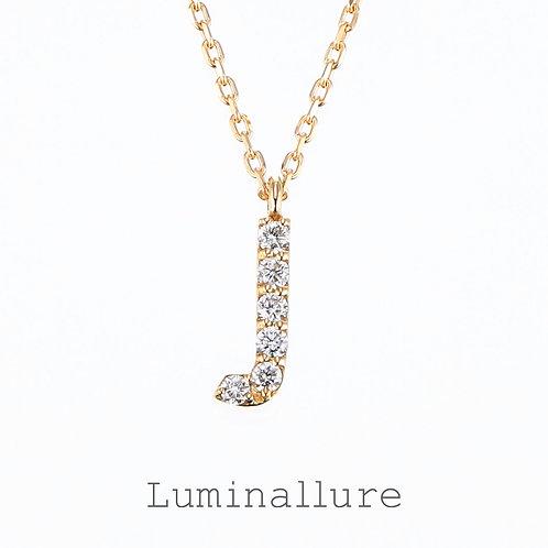 Initial Diamond Pendant 【J】 / K18YG / Total 0.04ct