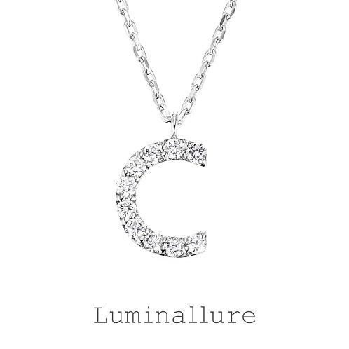 Initial Diamond Pendant 【C】 / K18WG / Total 0.07ct