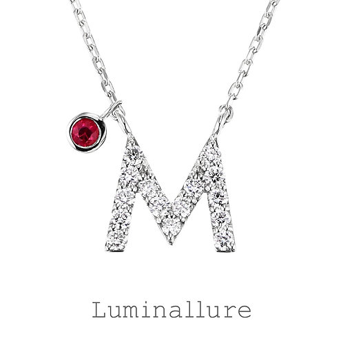 Initial Diamond Pendant 【M】with Charm / K18WG / Total 0.09ct
