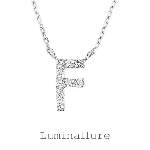 Initial Diamond Pendant 【F】 / K18WG / Total 0.06ct