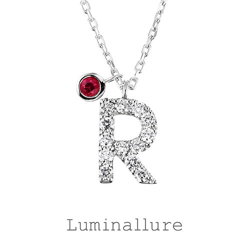 Initial Diamond Pendant 【R】with Charm / K18WG / Total 0.09ct