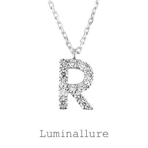 Initial Diamond Pendant 【R】 / K18WG / Total 0.09ct