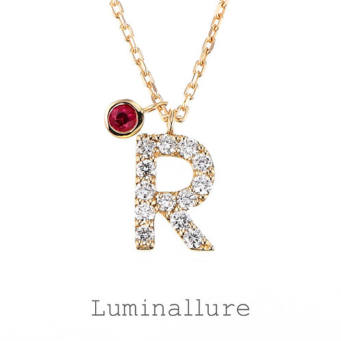 Initial Diamond Pendant 【R】with Charm / K18YG / Total 0.09ct