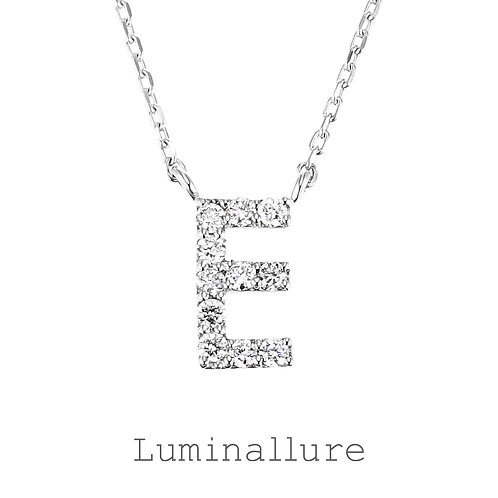 Initial Diamond Pendant 【E】 / K18WG / Total 0.07ct