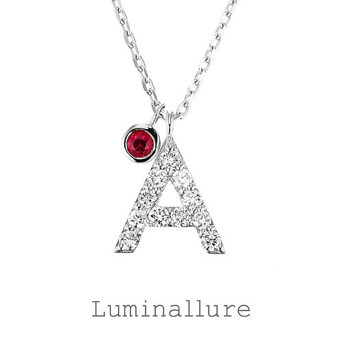 Initial Diamond Pendant 【A】with Charm / K18WG / Total 0.07ct
