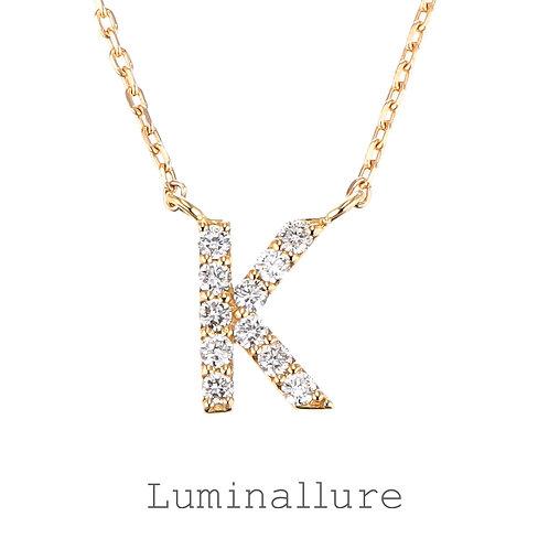 Initial Diamond Pendant 【K】 / K18YG / Total 0.07ct